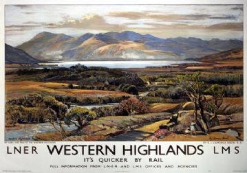 Western Highlands by Ben & Glen. LNER/LMS Vintage Travel Poster by Samuel John Lamorna Birch